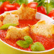 Stock Photo: Tomato cream soup with croutons