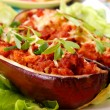Aubergine stuffed with mince meat - Photo
