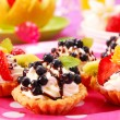 Mini tartlets with cream and fruits — Stock Photo #2843318