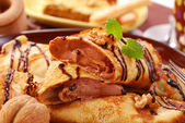 Pancakes with chocolate mousse — Stock Photo