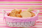 Bakery assortment in basket — Stock Photo