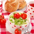 Breakfast with cottage cheese ,tomato — Stock Photo #2853182