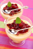 Dessert with cherry confiture — Stock Photo