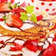 Stock Photo: Pancakes with strawberry and cream