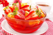 Jelly with strawberry and orange — Stock Photo