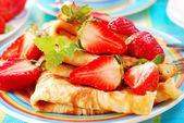 Pancakes with strawberry — Stock Photo