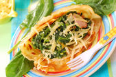 Pancakes with spinach for child — Stock Photo