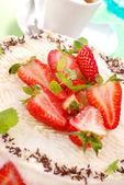 Cheesecake with strawberry — Stock Photo