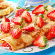 Pancakes with strawberry — Stock Photo