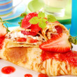 Stock Photo: Pancakes with strawberry mousse