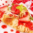 Pancakes with strawberry mousse — Stock Photo