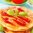 Omelette with ketchup — Stock Photo
