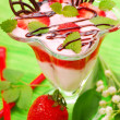 Yogurt with strawberry mousse — Stock Photo