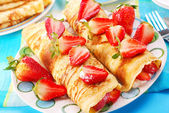 Pancakes with strawberry — Stockfoto