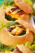 Baked buns filled spinach and egg — Stock Photo