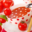 Tomato soup with cream drops — Stock Photo