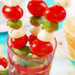 Shashlik with mozzarella,tomatoes — Stock Photo