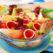 Stock Photo: Fresh salad with salami and vegetables