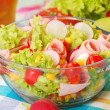 Fresh salad with ham — Stock Photo