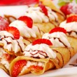 Pancakes with ,cream and strawberry — Stock Photo