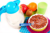 Breakfast with chocolate balls crisp — Stock Photo