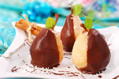 Pears poured with chocolate — Stock Photo