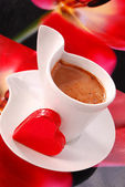 Coffee with red heart — Stock Photo