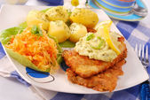 Breaded fish for dinner — Stock Photo