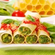 Cannelloni with spinach — Stock Photo
