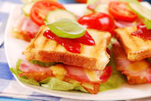 Toasts with cheese,bacon and tomato — Stock Photo