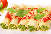 Cannelloni with spinach — Stockfoto