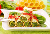 Cannelloni mit spinat — Stockfoto