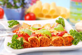 Cannelloni stuffed with minced meat — Stock Photo