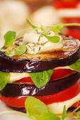 Grilled aubergine,tomato and mozzarella — Stock Photo