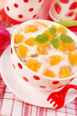 Breakfast with cottage cheese — Stock Photo