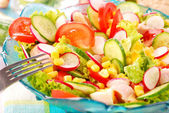 Fresh salad with Spring vegetables — Stock Photo