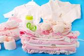 女婴的婴儿用品 — 图库照片