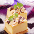 Stock Photo: Cheese cake on purple plate