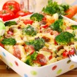 Pasta with broccoli and mushrooms — Stock Photo