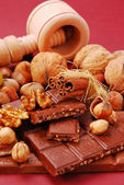 Chocolate bars with nuts and raisins — Stock Photo