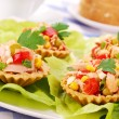 Tuna salad in tartlets for easter — Stock Photo #3189315