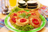 Fried Aubergine and zucchini slices — Stock Photo