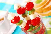 Shashlik with mozzarella,tomatoes — Stock Photo