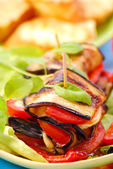 Grilled aubergine with cheese and tomato — Stock Photo