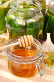 Pickled cucumbers with honey — Stock Photo