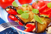 Rolled aubergine slices — Stock Photo