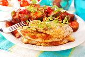 Grilled chicken fillet and ratatouille — Stock Photo