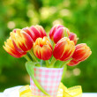 Stock Photo: Bunch of tulips in vase
