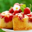 Strawberry cake on table in the garden — Stock Photo #3298346