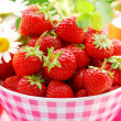 Stock Photo: Bowl of fresh strawberries